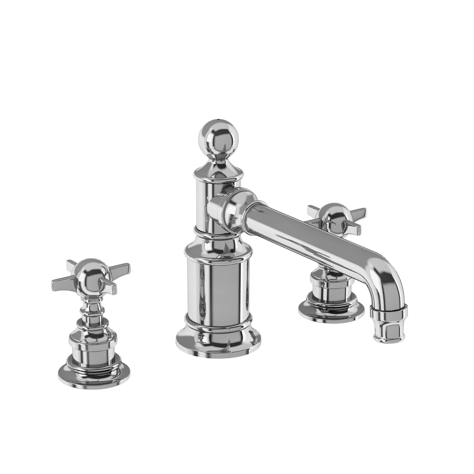Arcade three hole basin mixer deck-mounted without pop up waste
