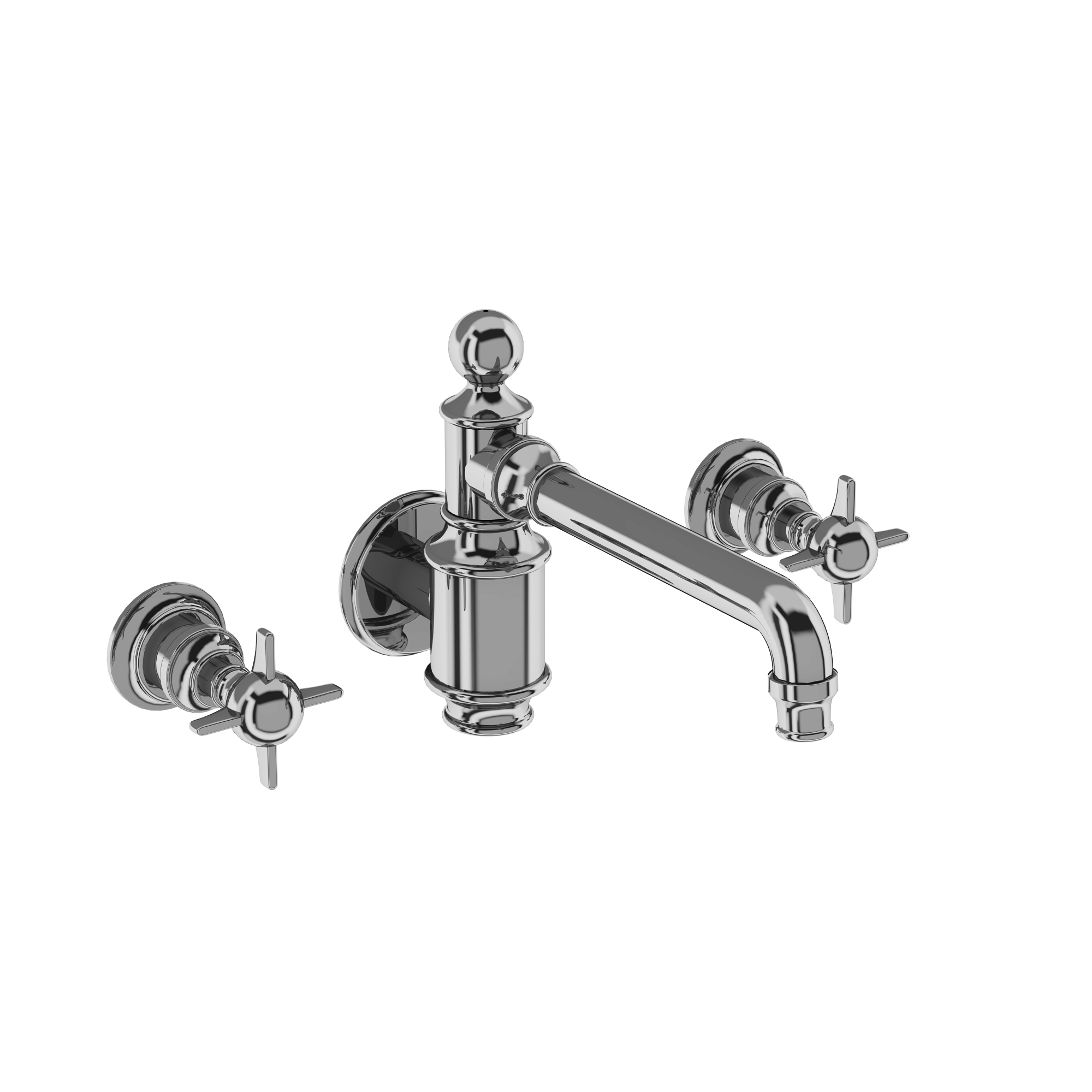 Arcade three hole basin mixer wall-mounted without pop up waste