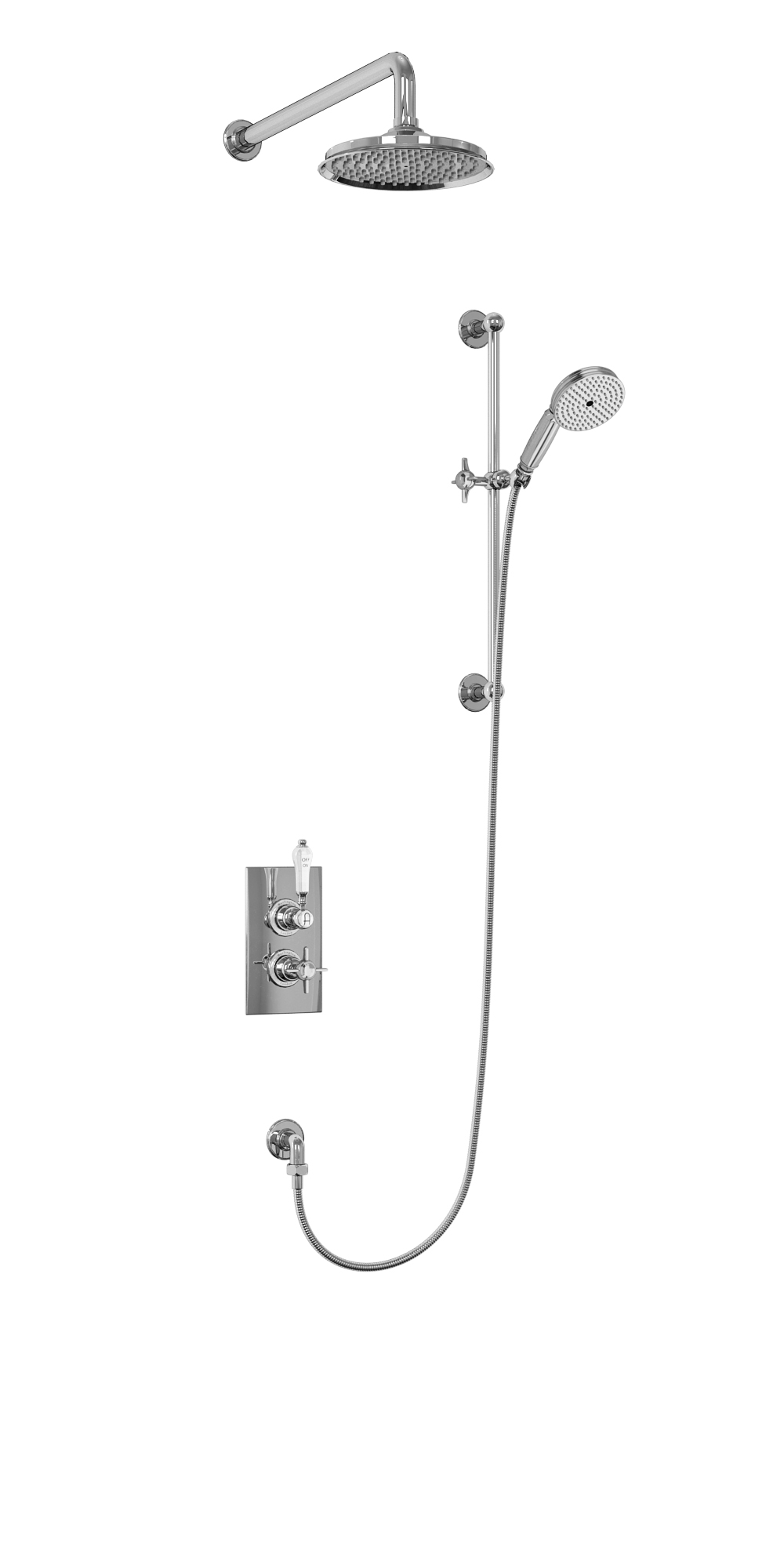 Arcade Thermostatic Two Outlet Concealed Diverter Shower Valve wi