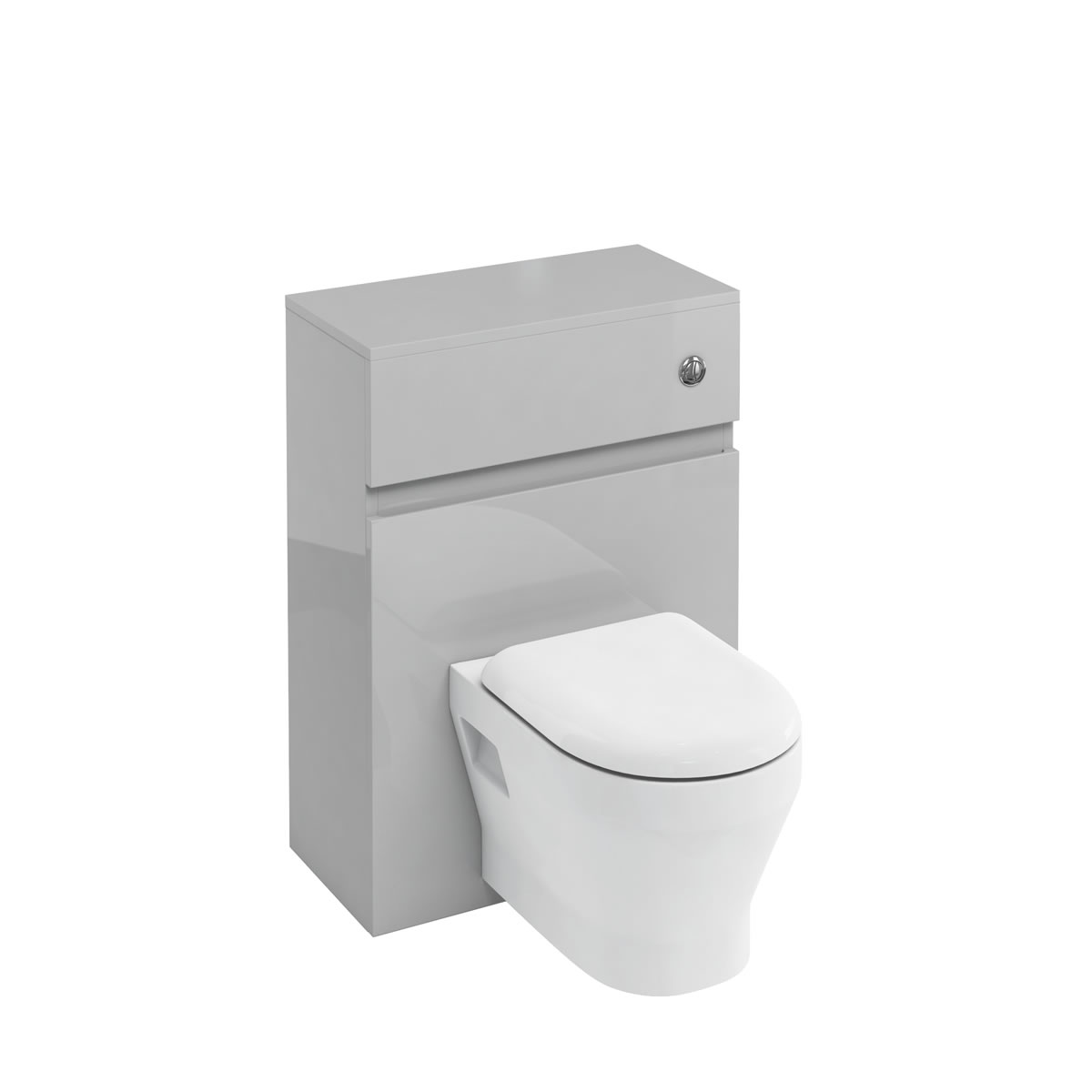 D30 wall hung WC unit with push button - light grey