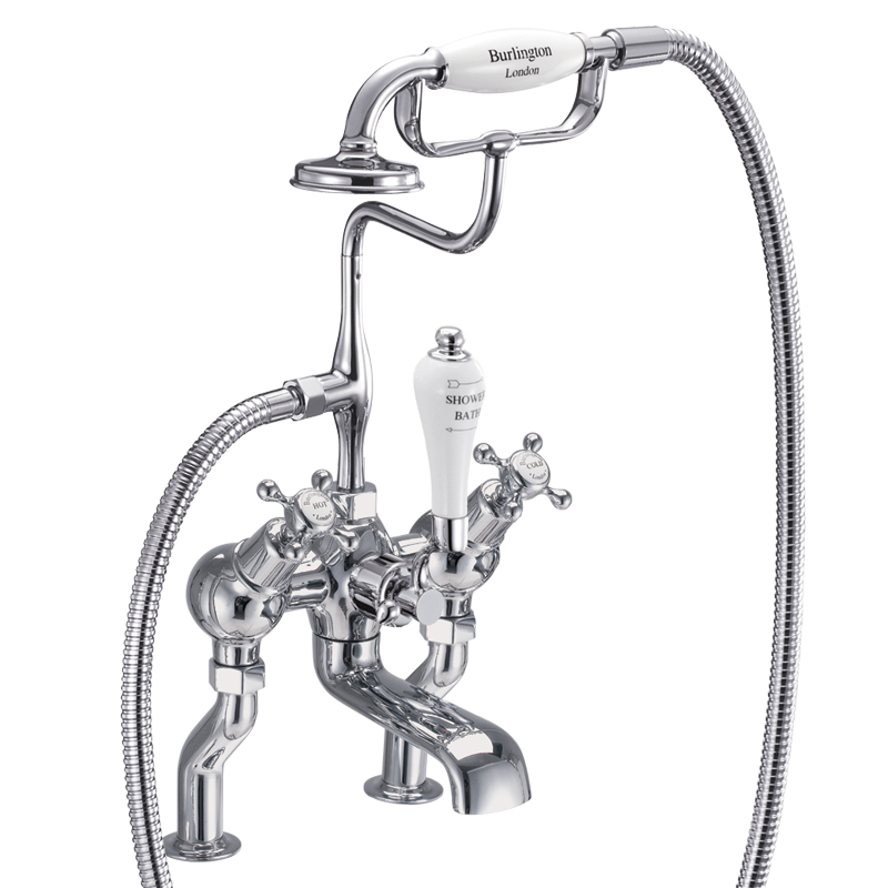 Burlington angled bath shower mixer deck mounted with S adjuster